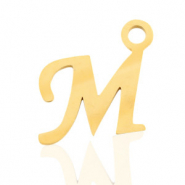 Stainless steel charms initial M Gold