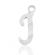 Stainless steel charms initial J Silver