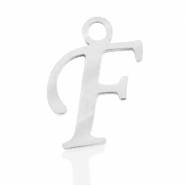 Stainless steel charms initial F Silver