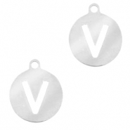 Stainless steel charms round 10mm initial coin V Silver