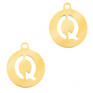 Stainless steel charms round 10mm initial coin Q Gold