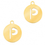 Stainless steel charms round 10mm initial coin P Gold