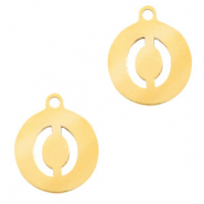 Stainless steel charms round 10mm initial coin O Gold