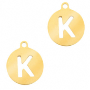 Stainless steel charms round 10mm initial coin K Gold