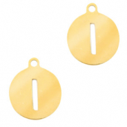 Stainless steel charms round 10mm initial coin I Gold