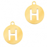 Stainless steel charms round 10mm initial coin H Gold