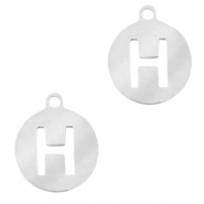 Stainless steel charms round 10mm initial coin H Silver
