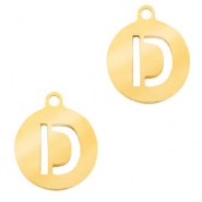 Stainless steel charms round 10mm initial coin D Gold