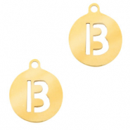 Stainless steel charms round 10mm initial coin B Gold