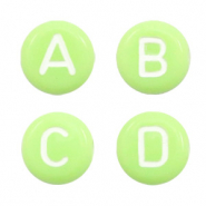 Acrylic letter beads mix Light Green