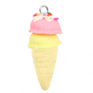 Charm with 1 loop fimo ice horn Naturel-Pink Yellow