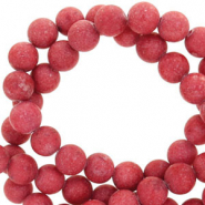 6 mm natural stone beads round mountain jade matt Port Red