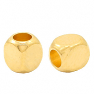 DQ European metal beads cube Gold (nickel free)