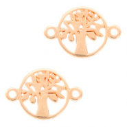 DQ European metal charms connector tree round 12mm Rose Gold (nickel free)