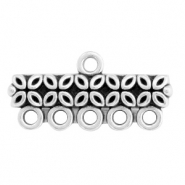 DQ European metal charms bar with 5 loops Antique Silver (nickel free)
