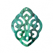 Resin pendants rhombus baroque Ocean Green