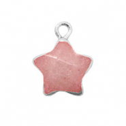 Natural stone charms star Burnt Coral Pink-Silver