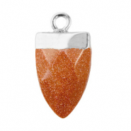 Natural stone charms tooth Sugar Almond Brown Glitter-Silver