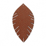 Faux leather pendants leaf medium Chocolate Brown
