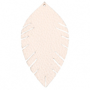 Faux leather pendants leaf large Delicacy Pink