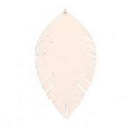 Faux leather pendants leaf medium Delicacy Pink
