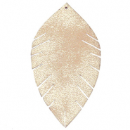Faux leather pendants leaf large Vintage Champagne Beige