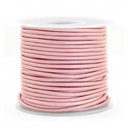 DQ leather round 1 mm Powder Pink Metallic