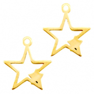 Stainless steel charms connector star Gold