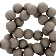 6 mm acrylic beads matt Frost Gray Taupe