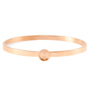 Polaris Steel bangle bracelet with setting for 7mm cabochon/Swarovski SS34 Rose Gold