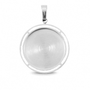 Polaris Steel charm with setting for 20mm cabochon Silver