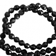 2 mm natural stone faceted beads crystal Black