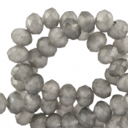 Top faceted beads 6x4mm disc Wild Dove Grey-Matt