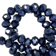 Top faceted beads 6x4mm disc Anthracite Blue-Pearl Shine Coating