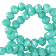 Top faceted beads 6x4mm disc Waterfall Blue-Pearl Shine Coating