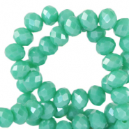 Top faceted beads 3x2mm disc Emerald Turquoise Green-Pearl Shine Coating
