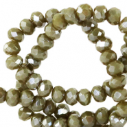 Top faceted beads 4x3mm disc Dark Sage Green-Pearl Shine Coating