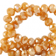 Top faceted beads 3x2mm disc Bleached Apricot Orange-Pearl Shine Coating