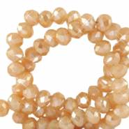 Top faceted beads 3x2mm disc Peachy Beige-Gold Shine Coating