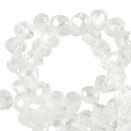 Top faceted beads 8x6mm disc Crystal-Pearl Shine Coating