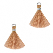 Tassels 1.5cm Silver-Soft Tan Brown