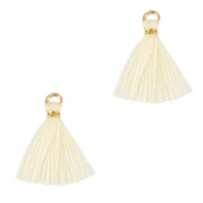 Tassels 1.5cm Gold-Almond Oil White