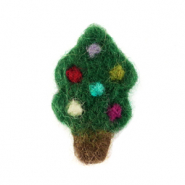 Charm with 1 eye felt christmas tree Green