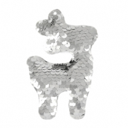 Charm with 1 eye sequin reindeer Silver