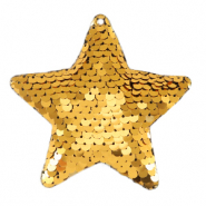 Charm with 1 eye sequin star Gold