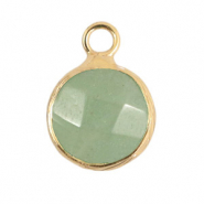 Natural stone charms 10mm Light Green-Gold