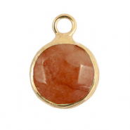 Natural stone charms 10mm Rust Rose-Gold