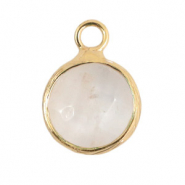 Natural stone charms 10mm White Crystal-Gold