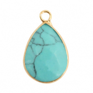 Natural stone charms drop Turquoise-Gold