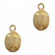 Natural stone charms Light Brown-Gold